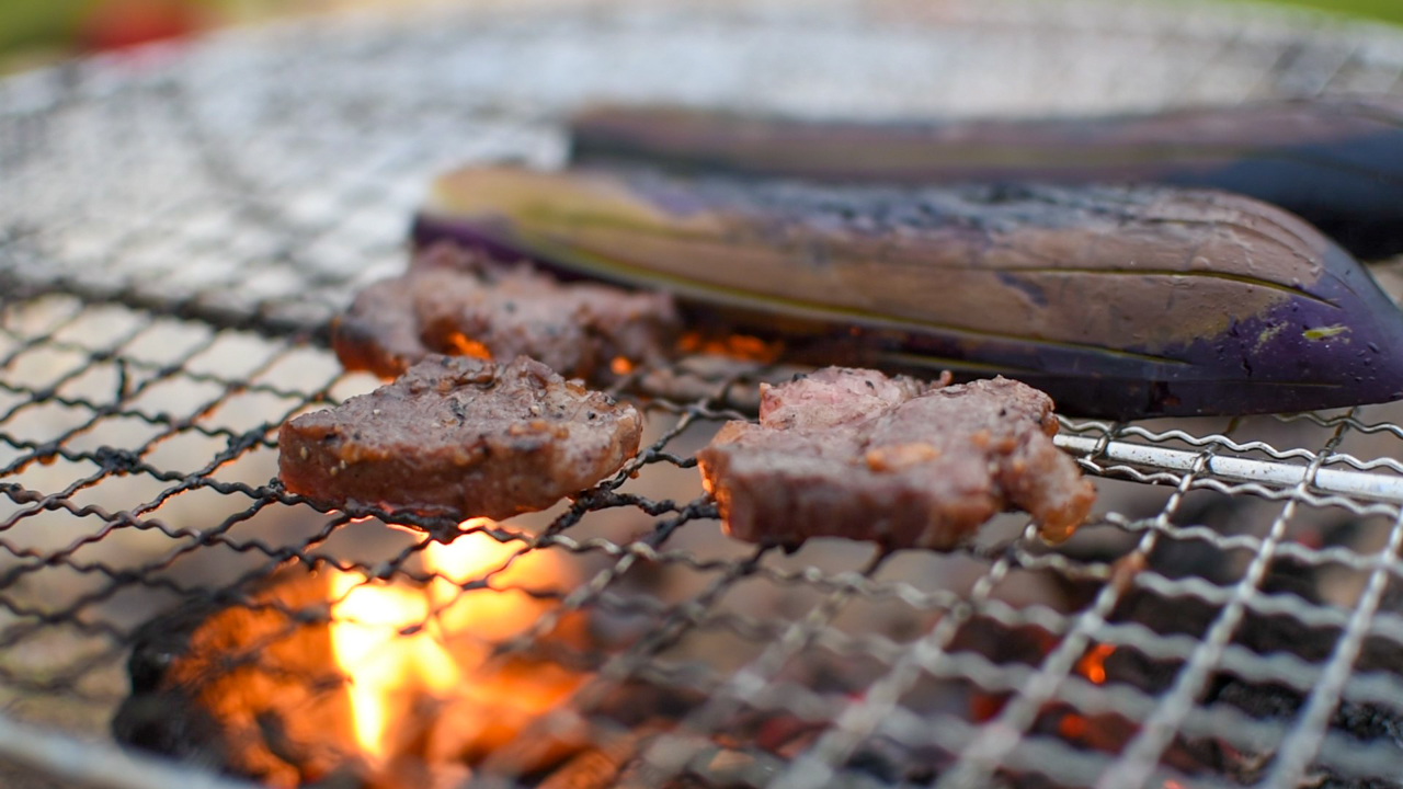 付属の網で焼き肉